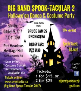 Big Band Spook-Tacular II: Hallowe'en Dance & Costume Party @ Pitt Meadows Heritage Hall | Pitt Meadows | British Columbia | Canada